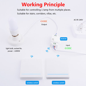 Image 2 - SMATRUL 1/2/3 Gang 433Mhz Smart Push Wireless Wall Switch Light RF Remote Control 110V 220V Receiver Home Button Ceiling Lamp