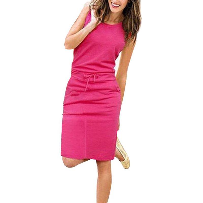 Jocoo Jolee Women Causal Sleeveless Pockets Pencil Dress 2020 Summer Solid Drawstring Waist Beach Party Sundress 2