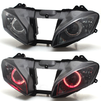 Motorcycle Headlight Assembled Projector Head lamp Assembly Angel Eye red For Yamaha YZF R6 2008-2015 image