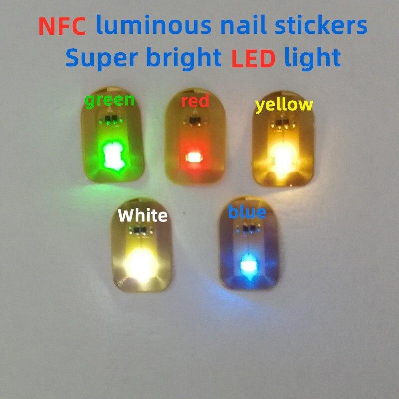 Nfc rótulo nfc led remendos luminosos etiquetas luminosas diy cartões de controle acesso 7 cores prego luminoso adesivos 10 pçs