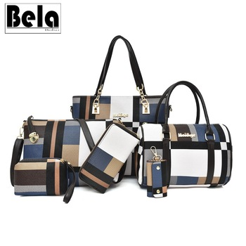 BelaBolso Women Plaid Pattern Composite Bag 6 pcs PU Leather Shoulder Bags Ladies Handbags Crossbody Fashion Female  HMB727