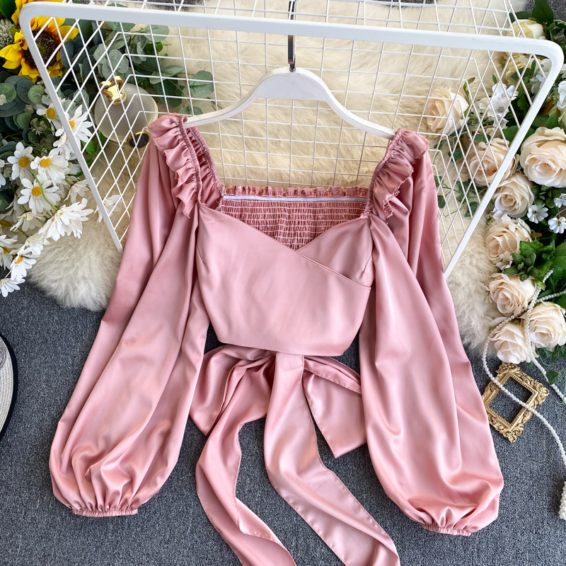 Spring Clothes 2020 Women's Chic Square Neck Long Lantern Sleeve Short Tops High Waist Shirt Sexy Solid Color Blouse L261
