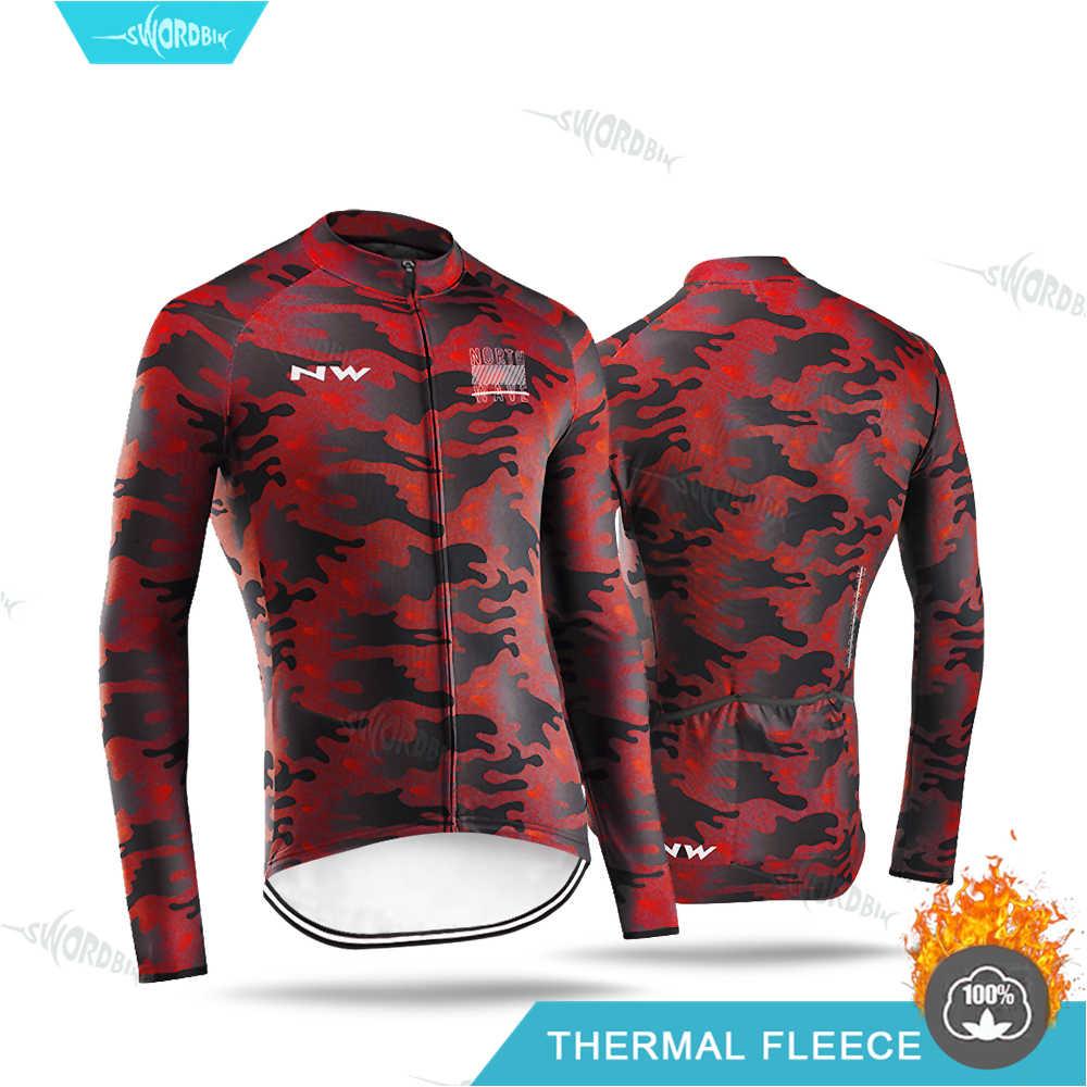 2020 Panno Morbido di Inverno Termico Camicette Ciclismo maglia Manica Lunga Abbigliamento MTB Vestiti Tenere In Caldo Addensare Bici Da Strada Jersey Camouflage