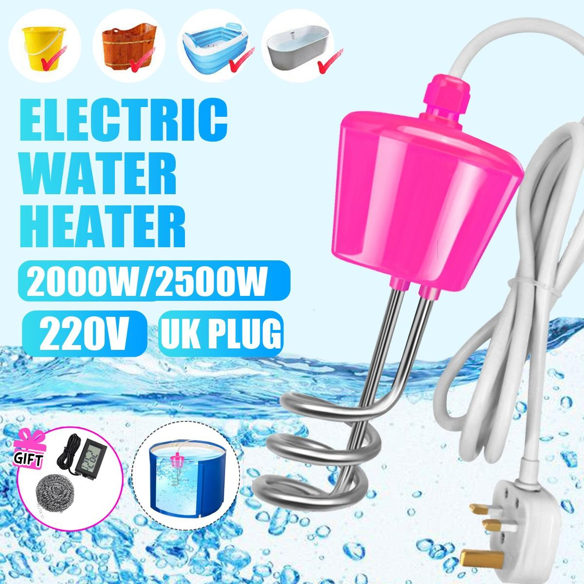 2500W Floating Electric Heater Boiler Water Heating Element Portable Immersion Suspension Bathroom Swimming Pool UK Plug