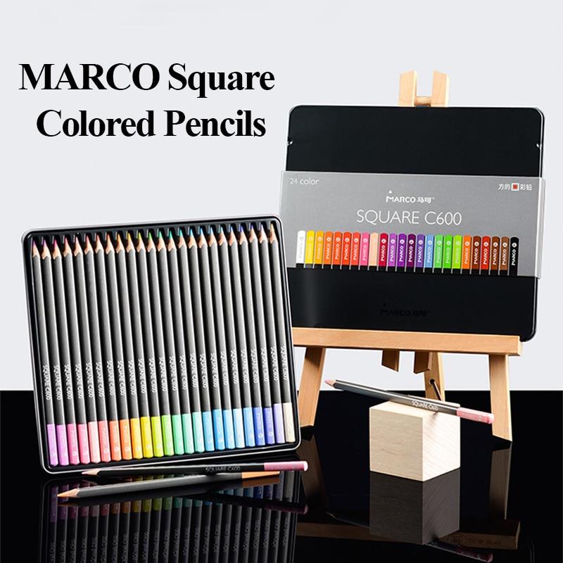 Marco Art Square Oily Colored Pencils Pink Series 12/24 Colors Hand Painted lapis de cor Painting Design Exam Supplies C600