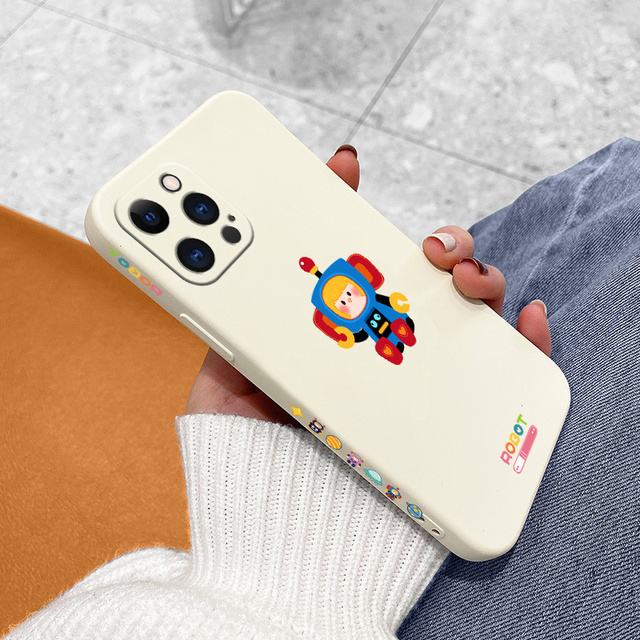 Soft Cartoon Pattern Liquid Silicone Case For iPhone 12 Pro Max 11 X XS  XR XSMAX SE2020 8 8Plus 7 7Plus 6 6S Plus 5 5S 6