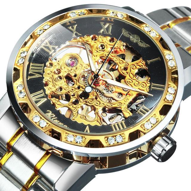 الفائز الهيكل العظمي الميكانيكية الرجال الذهبي ساعة فضية العلامة التجارية الفاخرة مثلج خارج كريستال موضة الشرير الصلب ساعة اليد دروبشيبينغ 1