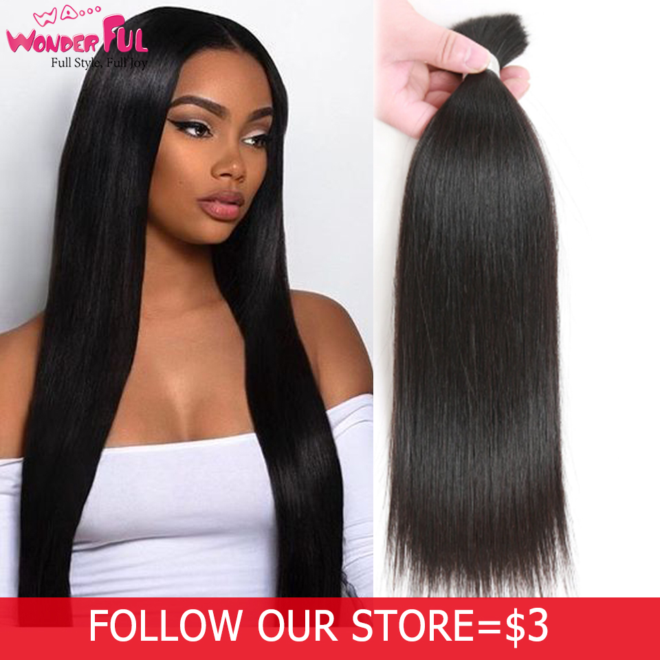 Brazilian Remy Straight <font><b>Bulk</b></font> Human Hair For Braiding 1/3/5 Bundle Free Shipping 10 to 30 Inch Natural Color Hair Extensions image