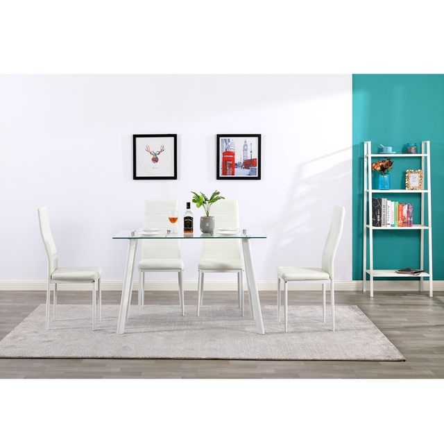 5 Piece White Dining Table Set  4