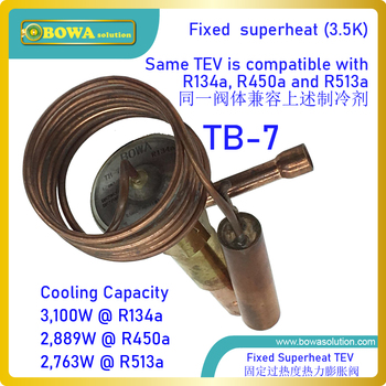 3.1KW R134a TEV matches 1HP coolant compressor, is for single injected evaporator, such as gas burner & heat pump water heater image