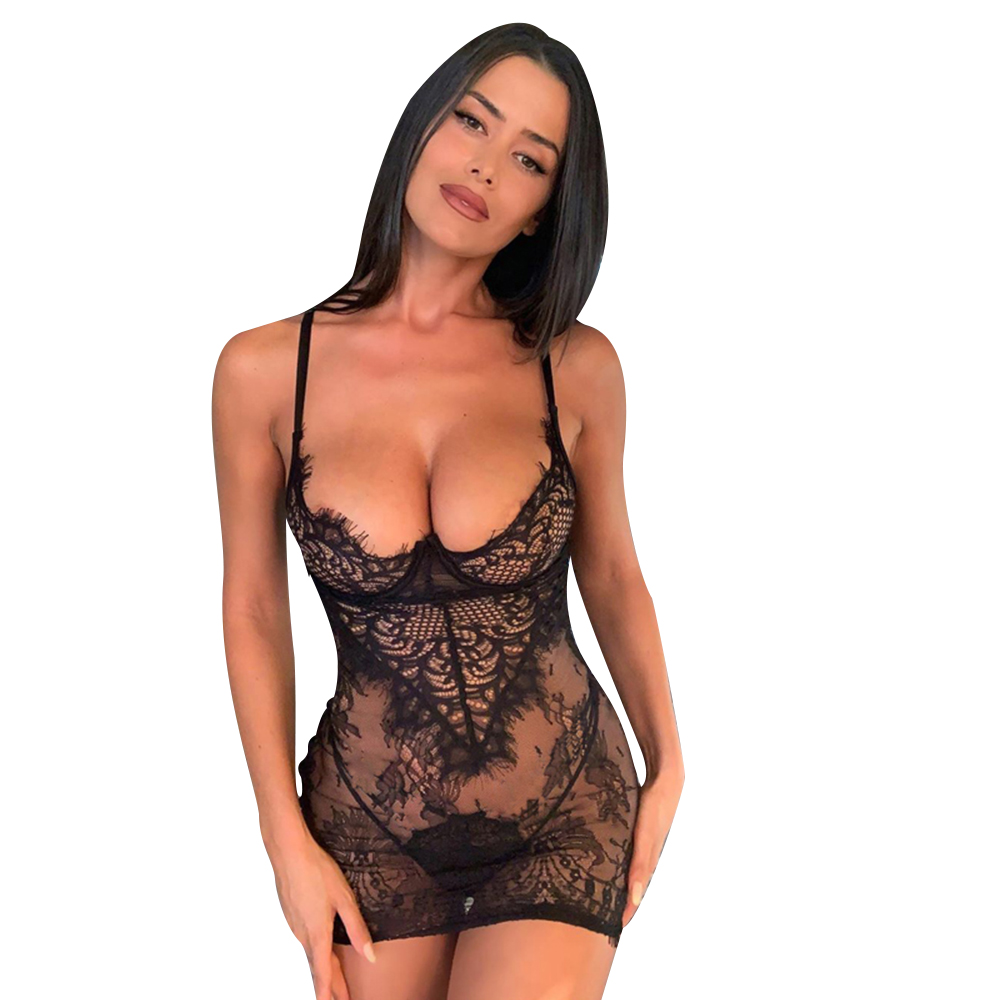 Women Lingerie Sexy Hollow Out Transparent Underwear Sleepwear Erotic Backless Babydoll & G-srting Lady Exotic Lingerie Set D30