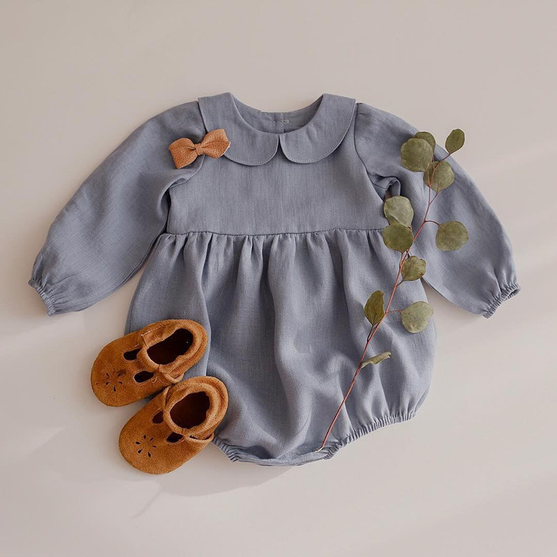 Melario/Комбинезоны для маленьких девочек; Однотонная одежда с длинными рукавами для малышей; Комбинезоны из хлопка и льна для новорожденных; О...