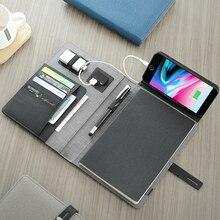 Беспроводная зарядка Многофункциональный A5 ноутбук 5000 мАч Внешний аккумулятор Поддержка IOS Android Type c бизнес подарок офисный блокнот