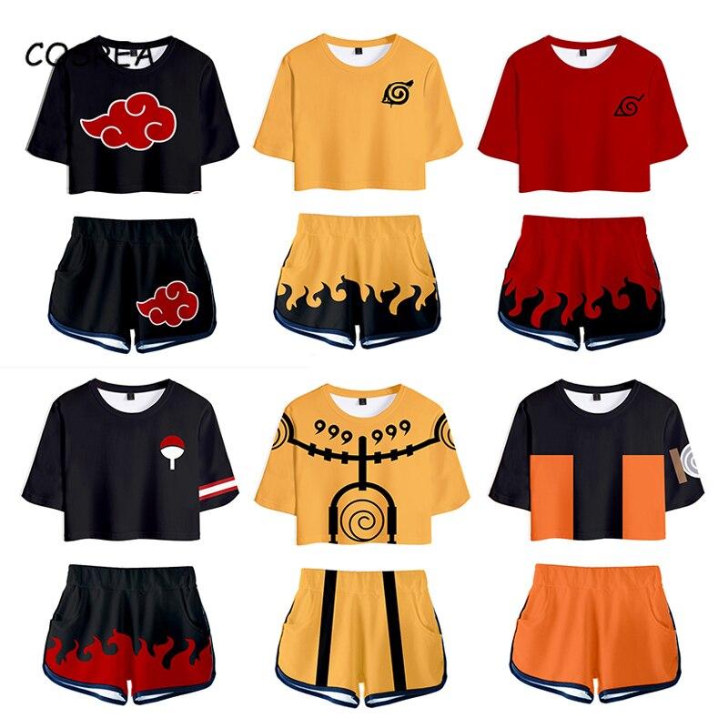 Shirt Cosplay Costume Anime T shirt Uzumaki Akatsuki Haruno Sakura Sport Suit Tees Shorts Disfraz Women Clothes T-shirt