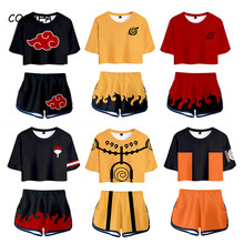Camisa cosplay traje anime t camisa uzumaki akatsuki haruno sakura esporte terno t shorts disfraz roupas femininas camiseta