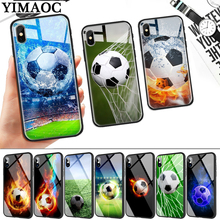 Football on water burning fire sports Glass Phone Case for Apple iPhone 11 Pro XR X XS Max 6 6S 7 8 Plus 5 5S SE