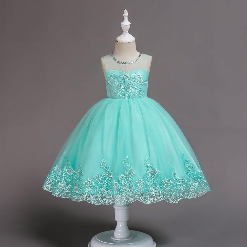 Europe And America Girls Evening Dress Dresses Of Bride Fellow Kids Sleeveless Embroidery Diamond Set Princess Dress CHILDREN'S