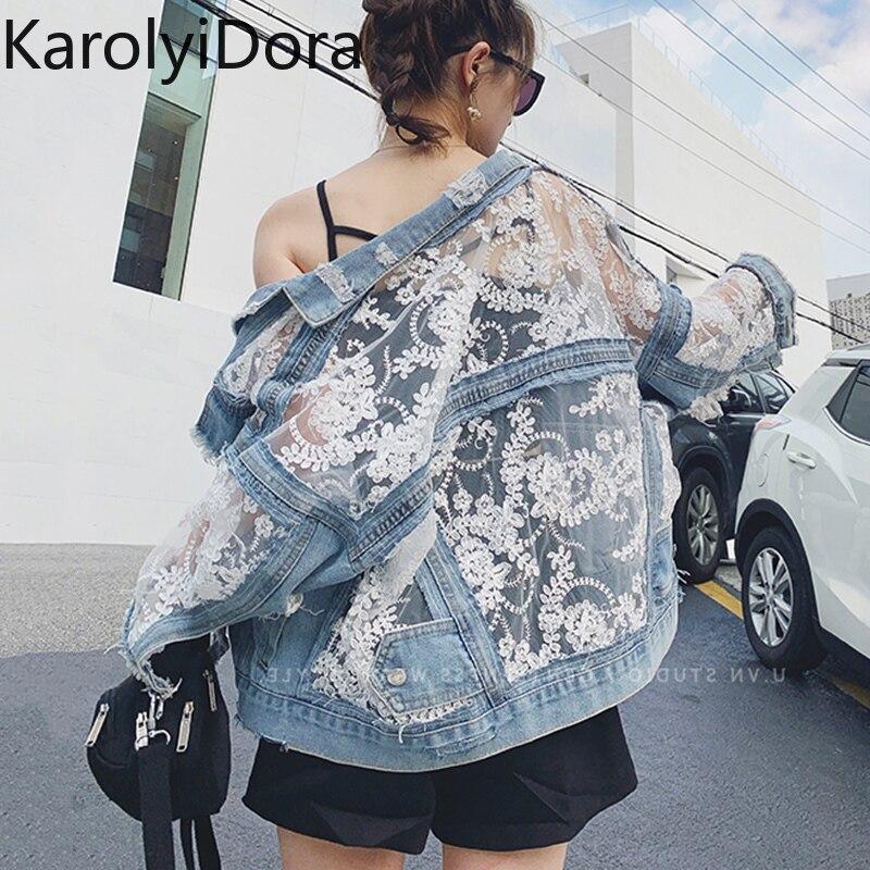 Streetwear Lace Patchwork Jean Hole Denim Jacket Coat Women Oversized Long Sleeve Perspective Flower Embroidery Loose Overcoat