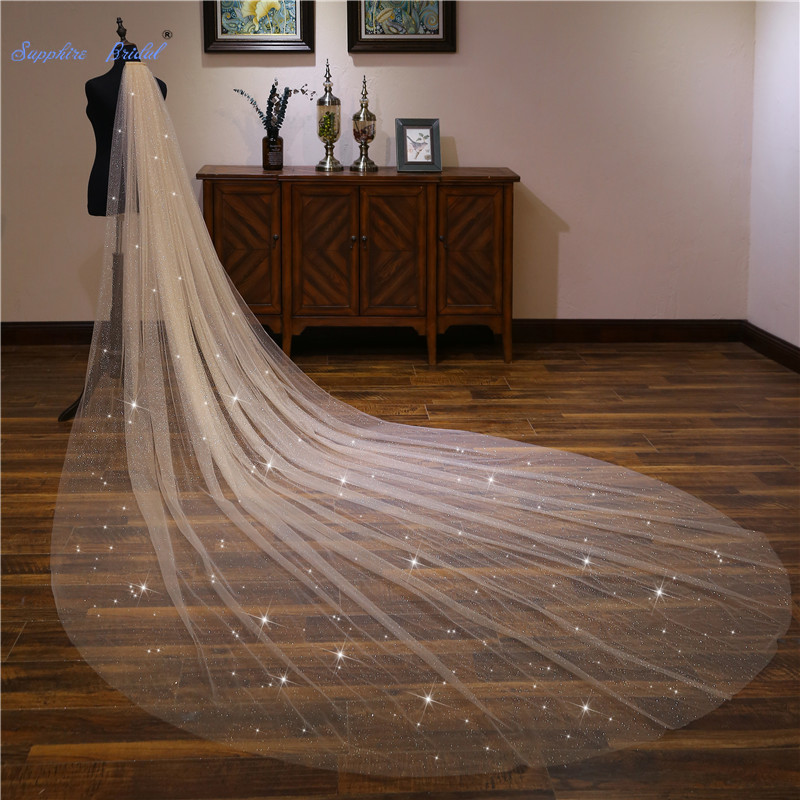 Sapphire Bridal Wedding Accessories Light Champagne Sequined Wedding Veil Long Velo De Novia 1 Tier Bridal Veil With Comb