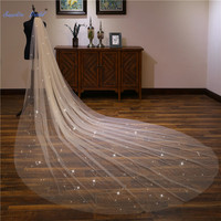 Sapphire Bridal Wedding Accessories Light Champagne Sequined Wedding Veil Long Velo De Novia 1 Tier Bridal Veil with Comb
