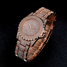 Luxury Diamond Women Watch Fashion Rhinestone Rose Gold Clock for Ladies Dress Stainless Steel Quartz Wrist Watch orologio donna fashion women wrist watch marble surface stainless steel band quartz movement rose gold simple ladies fashion dress wristwatches