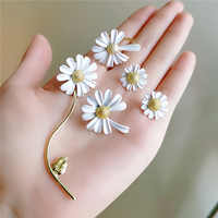 2020 Korean new fashion jewelry personality notch flower daisy alloy paint white asymmetric earring ring elegant female jewelry