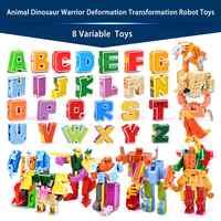 26 carta A-Z Alfabeto Animal Dinossauro Deformação Guerreiro Figuras de Ação Brinquedos Transformação Robô Para Crianças Dom Brinquedos
