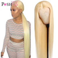 613 Honey Blonde Color Remy Brazilian Straight Lace Front Human Hair Wig 8 - 34 inch 1B 613 Ombre Frontal Wigs for Black Women 1