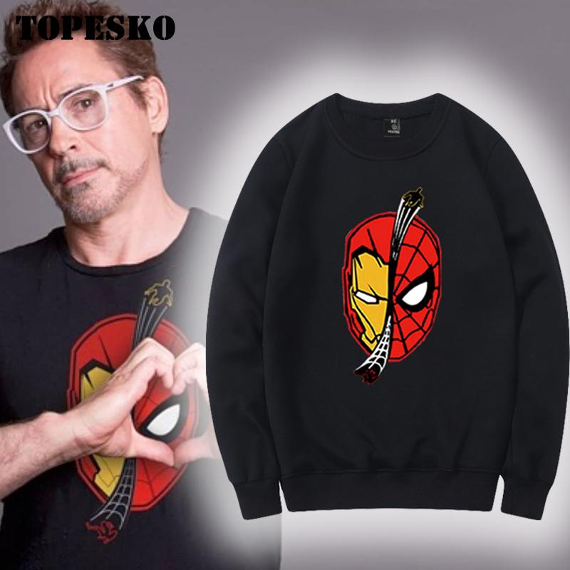 TOPESKO Winter Mens Fleece Hoodies Iron Man Spider Print Sweatshirts Tony Stark Streetwear Plus Size Tops XXXL