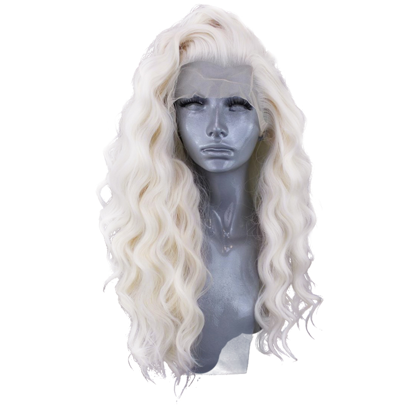 Charisma #60 Platinum Blonde Wig With Baby Hair 26 Inch Synthetic Lace Front Wig Glueless Heat Resistant Wigs For Women 13x3