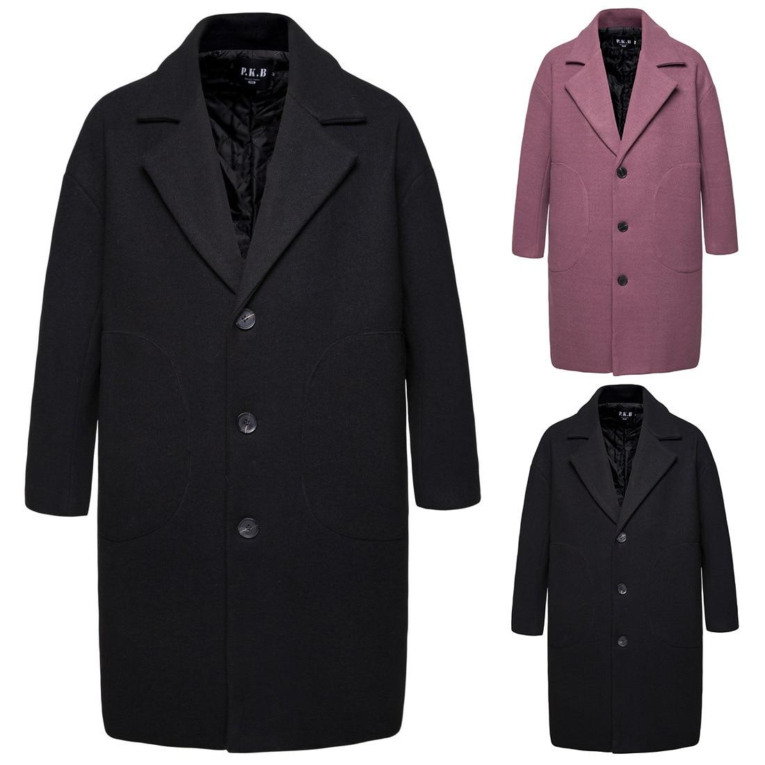 2019 Autumn & Winter Foreign Trade Trench Coat Men Mid-length Korean-style Woolen Jacket Spring And Autumn Handsome Woolen Coat