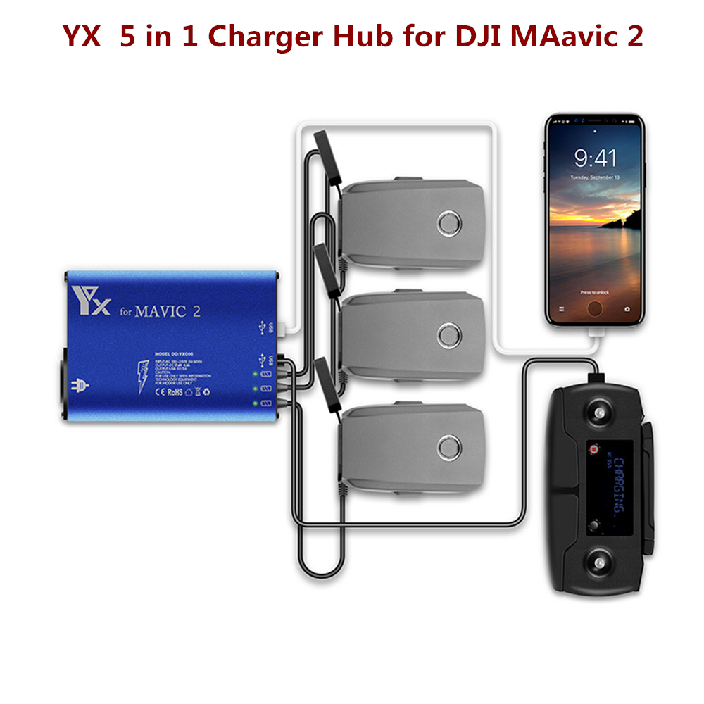 Mavic 2 Pro/Zoom Battery Charger Hub 5 In 1 Charging Hub For DJI Mavic 2 Drone Remote Controller & Battery & SmartPhone Charger