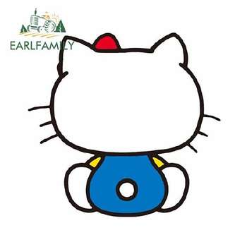 EARLFAMILY 13cm x 12.4cm Back To Face Hello Kitty Graphics Waterproof Car Sticker Auto Motorcycle Decal Window Car Styling