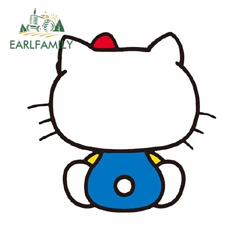 EARLFAMILY 13cm x 12.4cm Back To Face Hello Kitty Graphics Waterproof Car Sticker Auto Motorcycle Decal Window Car Styling image