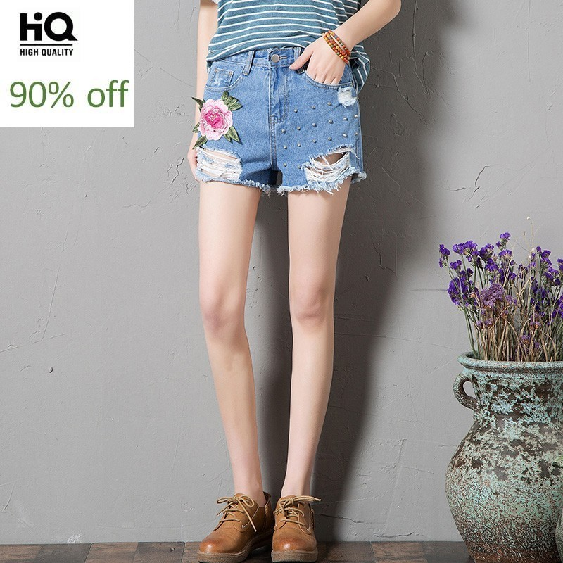 2020 Summer Hot Fashion Women's Shorts Loose Fit Hole Ripped Jeans Female Short Mid Waist Embroidery Floral Denim Trouser Woman