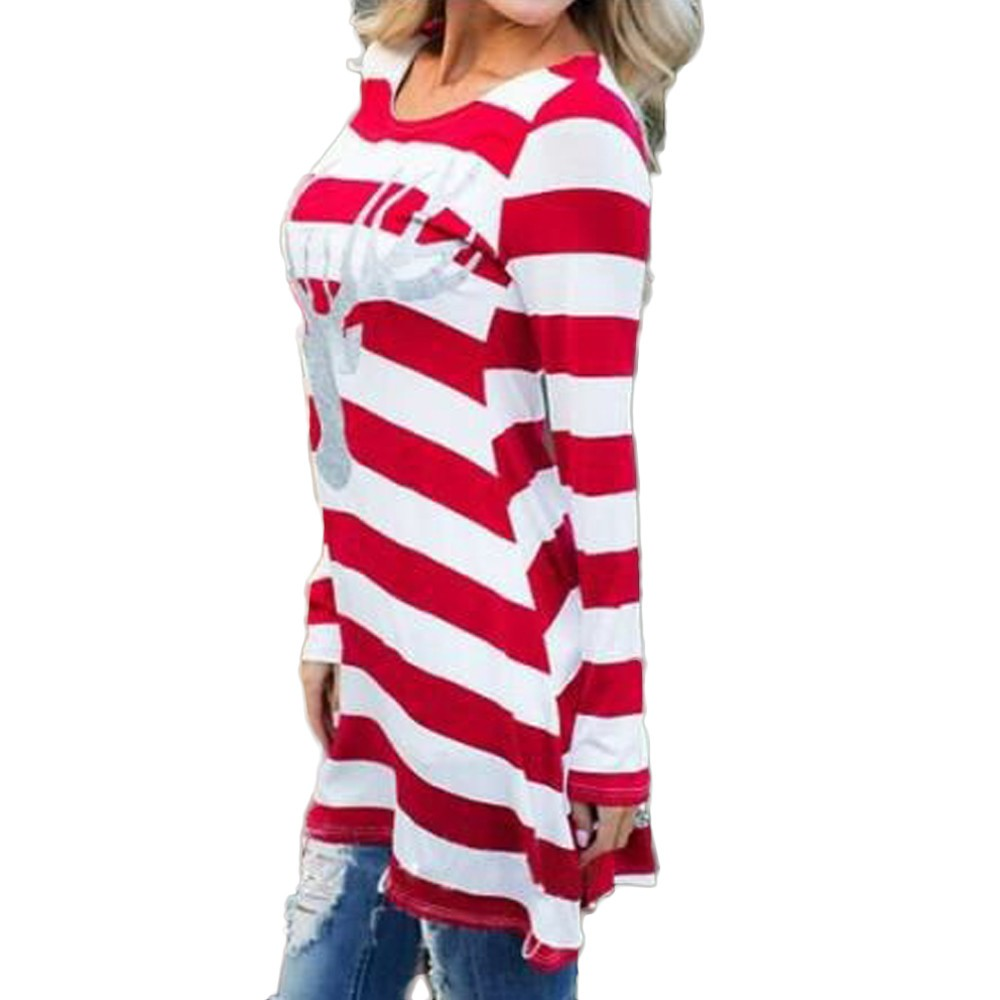 Women Fashion Casual Blouses Loose Comfortable Stripe Clothing Round Collar Ladies Christmas Elk Long Sleeve Style Tops 19Nov07