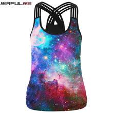 Women Sport Vest Galaxy 3D Print Femme Yoga Shirt Slim Running Training Fitness T-shirt Cross Strip Tank Tops Workout Gym Blouse