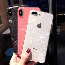 ברור גליטר רך טלפון מקרה עבור iPhone 7 מקרה X XR XS מקסימום 6 6s 8 בתוספת אולטרה רגיל דק שקוף צבע בלינג סיליקון כיסוי