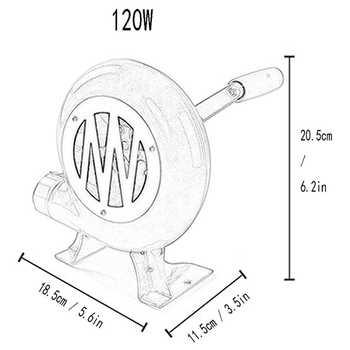 120W Barbecue Iron Gear Hand Blower Hand Blower Manual Firing Blower corn Fan