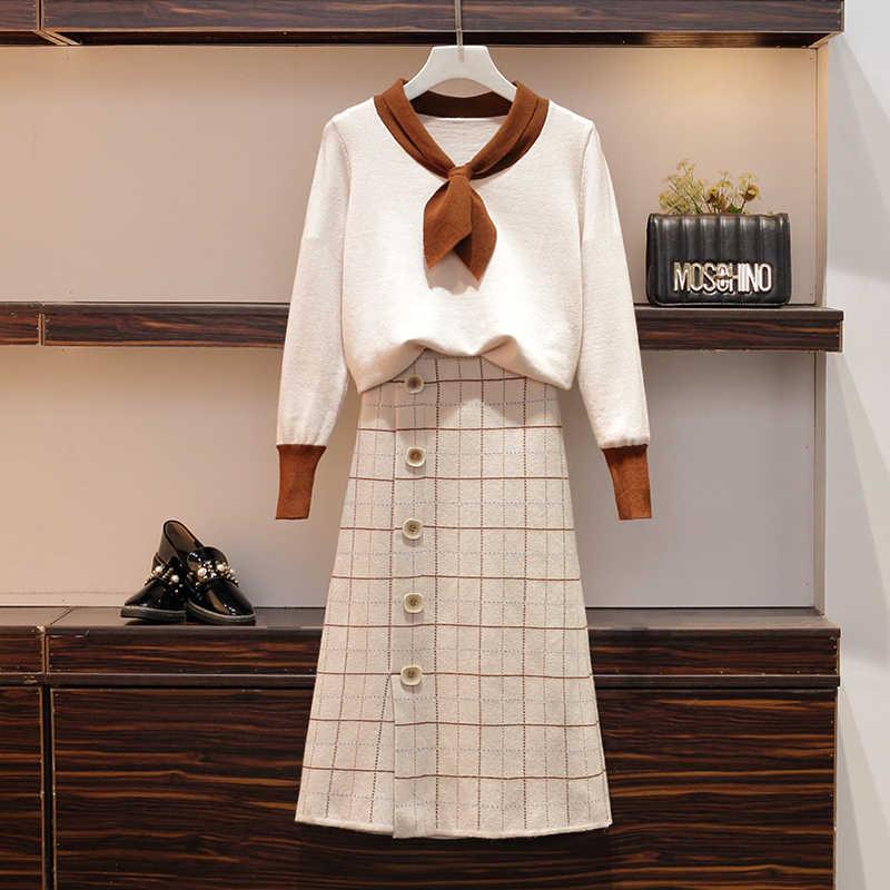 Толстая сестра Ранняя осень новый тип 2019 большой размер Западный галстук вязаный свитер половина длины юбка два комплекта