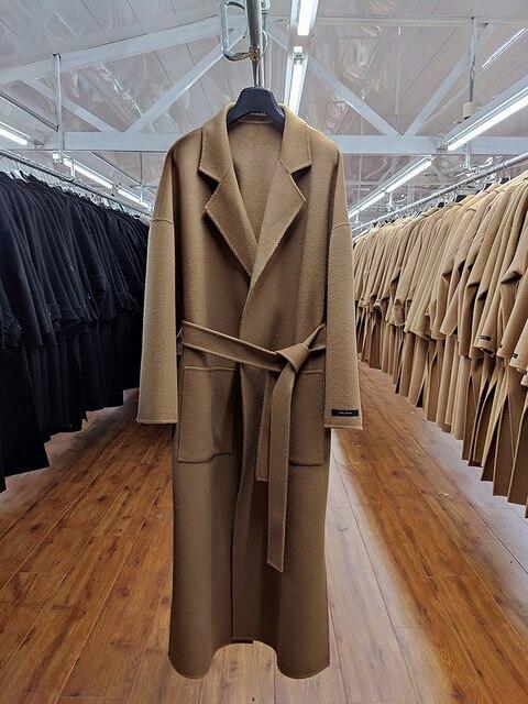женское двухстороннее шерстяное пальто черно серое свободное фотография