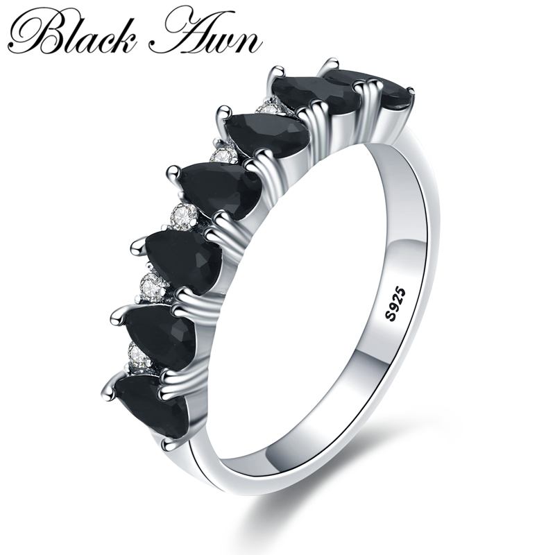 Negro AWN 2020 nueva moda 925 joyería fina de compromiso de plata de ley girel negro anillo de compromiso redondo para mujeres G097 Colgantes de plata de ley 925 de alta calidad con cuentas de Arbol de la vida compatibles con la pulsera Pandora Original