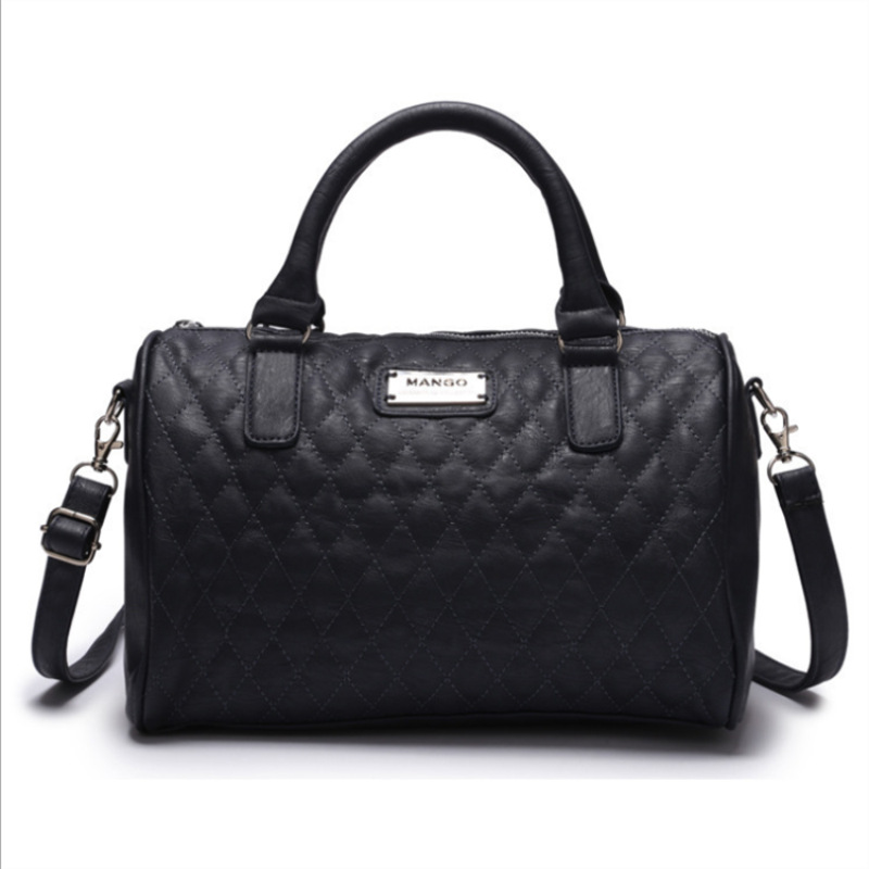 European And American-Style New Style-Special Price MANGO Black Bucket Diamond-Quilted Pillow Shoulder Mango Hand WOMEN'S Bag La