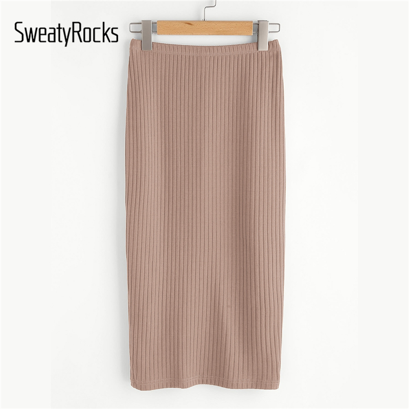 SweatyRocks Nude Split Back Ribbed Knit Skirt Skinny Casual Midi Skirts 2019 Women Streetwear Stretchy Pencil Skirts