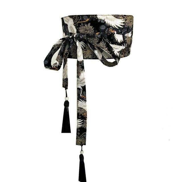 Asian Japanese Kimono Fashion Tassel Obi  Crane Belt 6