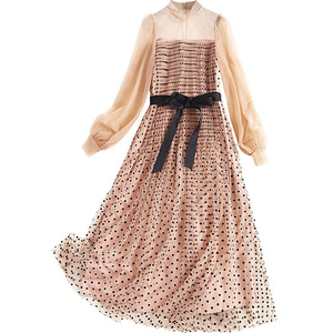 Image 4 - AELESEEN Runway Dots Dress Women 2020 Spring Autumn Long Lantern Sleeve See through Belt Mesh Party Long Pleated Dress Vestidos