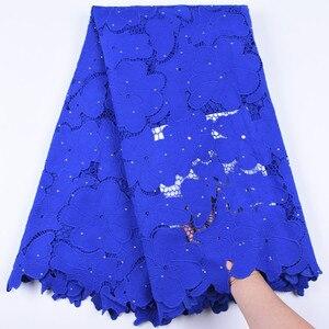 Image 5 - Tissu en dentelle Soluble du nigeria, 5 yards, cordon Guipure africaine, tissu en dentelle avec pierres, cordon Orange, pour fête, F1696