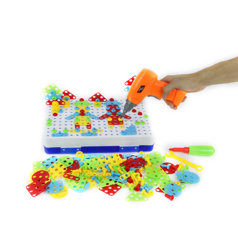 150/240pcs Children Electric Drill Nut Puzzle Disassembly Assembled Block Plastic Jigsaw Building Toy Kids Educational Tool