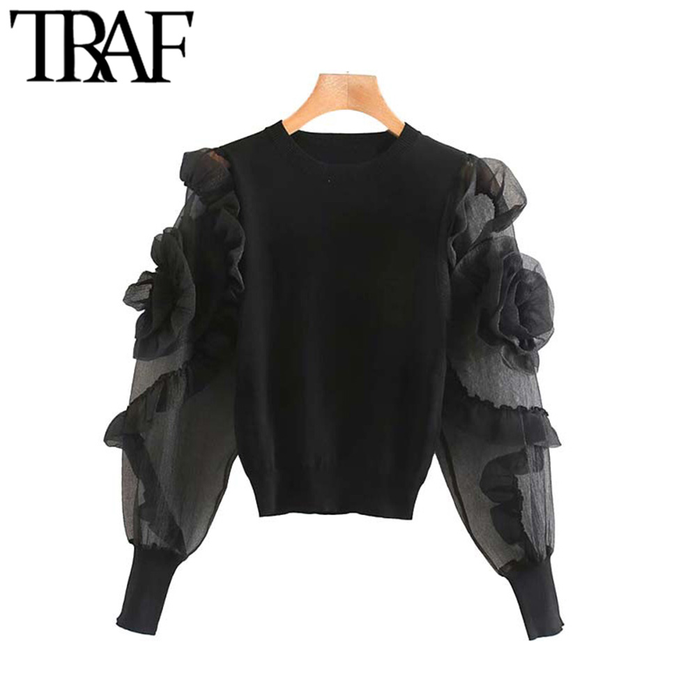TRAF Women Vintage Stylish Patchwork Organza Knitted Cropped Sweater Fashion See Through Sleeve Stretchy Pullovers Chic Tops