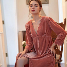 Lace Dress Vintage Velvet Sleepwear V-Neck Long-Sleeve Autumn Phoentin FG210 Elegant